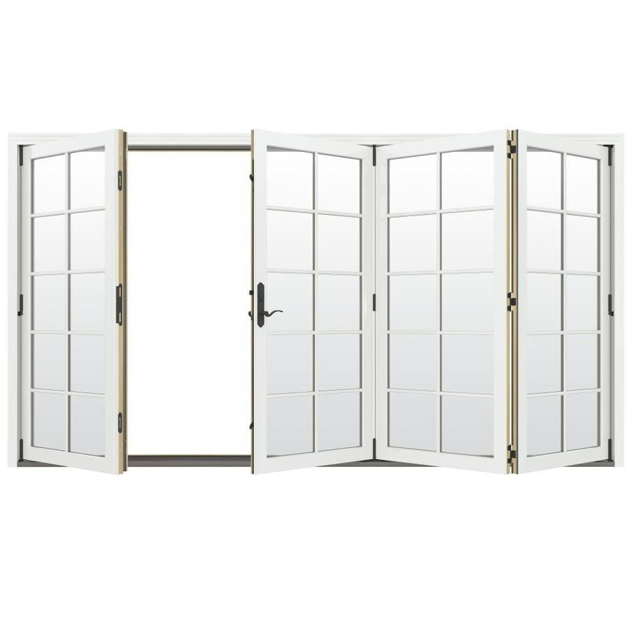 JELD-WEN W-4500 124.1875-in 10-Lite Glass Brilliant White Wood Folding Outswing Patio Door