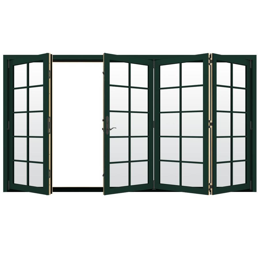 JELD-WEN W-4500 124.1875-in x 96.375-in Right-Hand Outswing Green Folding Patio Door