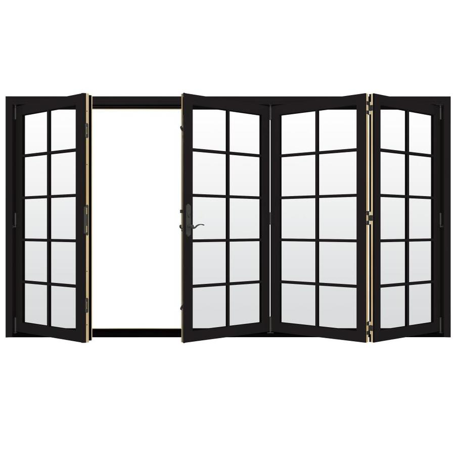 JELD-WEN W-4500 124.1875-in 10-Lite Glass Black Wood Folding Outswing Patio Door
