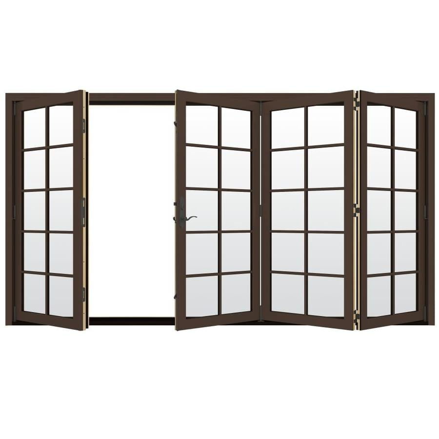 JELD-WEN W-4500 124.1875-in 10-Lite Glass Dark Chocolate Wood Folding Outswing Patio Door
