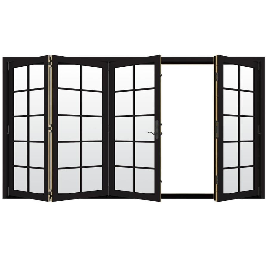 JELD-WEN W-4500 124.1875-in x 80.375-in Left-Hand Outswing Black Folding Patio Door