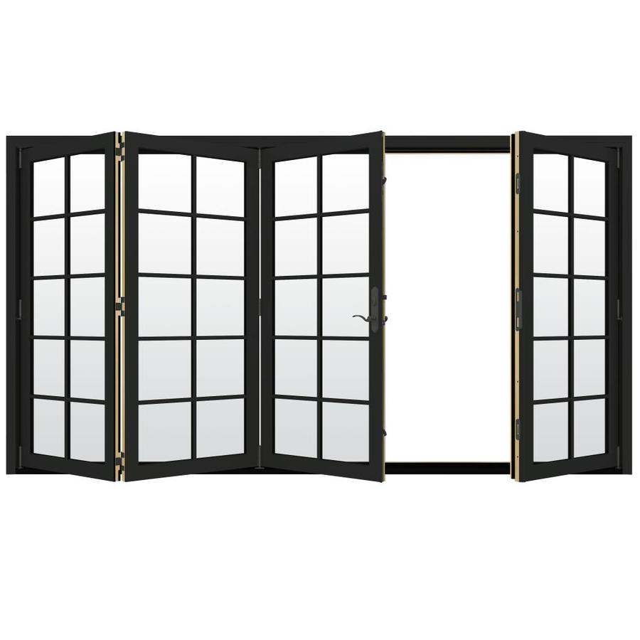 JELD-WEN W-4500 124.1875-in 10-Lite Glass Chestnut Bronze Wood Folding Outswing Patio Door