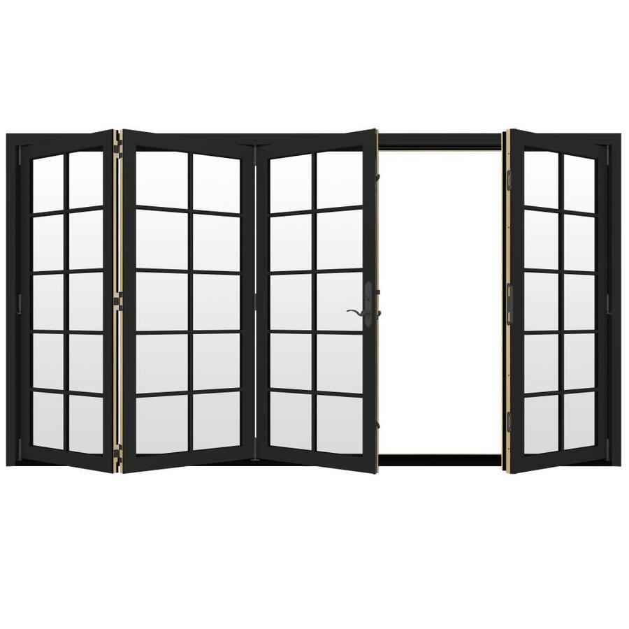 JELD-WEN W-4500 124.1875-in 10-Lite Glass Chestnut Bronze Wood Folding Outswing Patio Door
