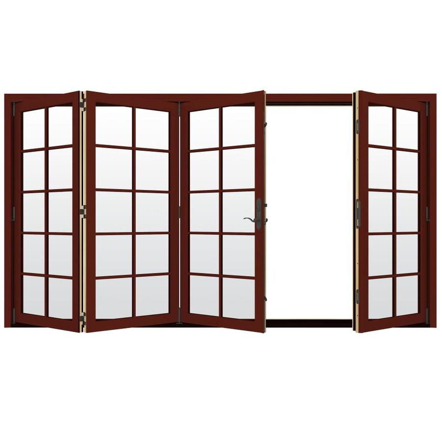 JELD-WEN W-4500 124.1875-in 10-Lite Glass Mesa Red Wood Folding Outswing Patio Door