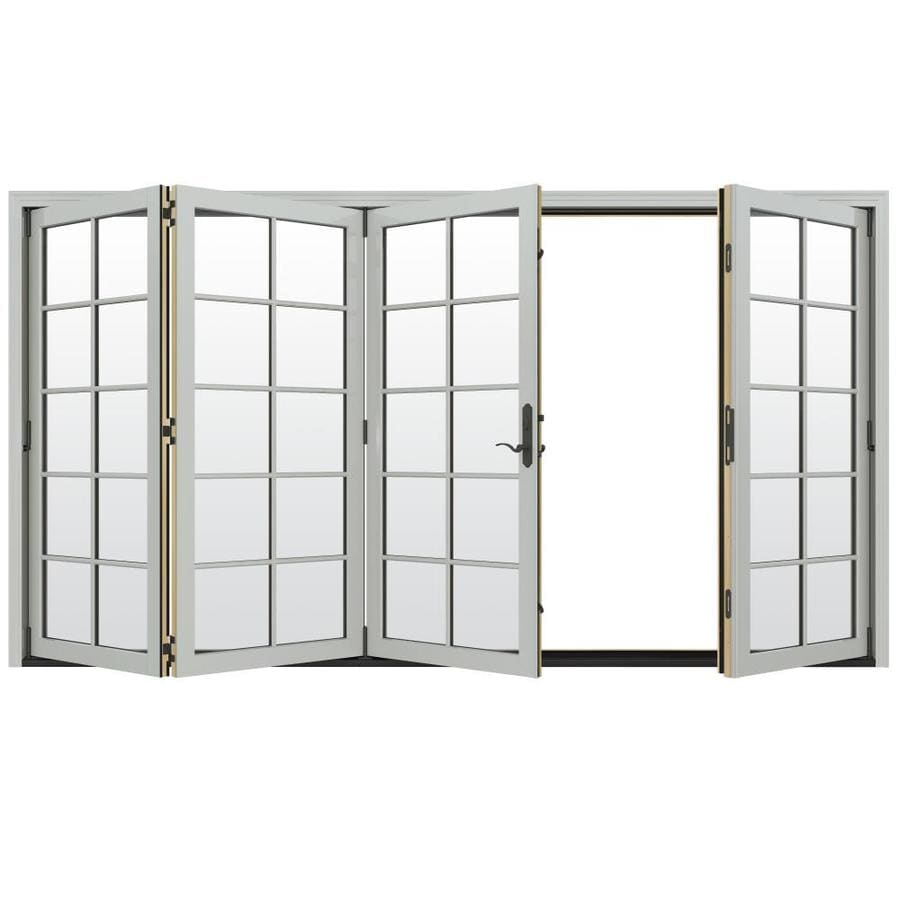 JELD-WEN W-4500 124.1875-in 10-Lite Glass Arctic Silver Wood Folding Outswing Patio Door