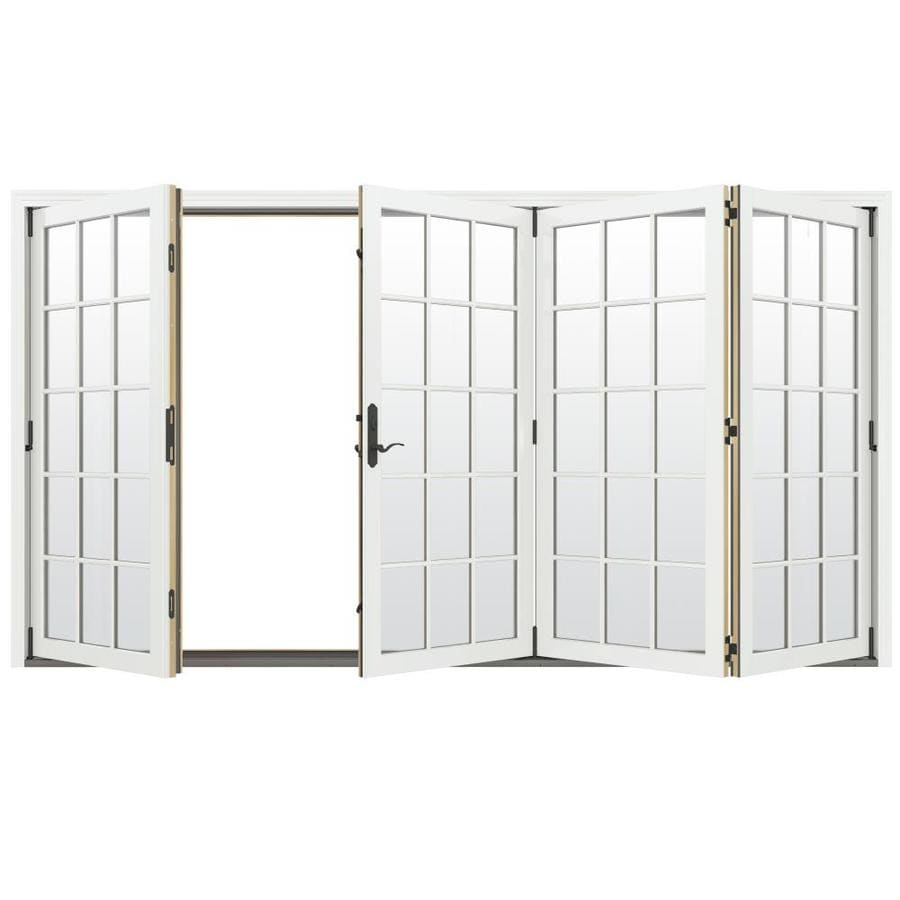 JELD-WEN W-4500 124.1875-in 15-Lite Glass Brilliant White Wood Folding Outswing Patio Door