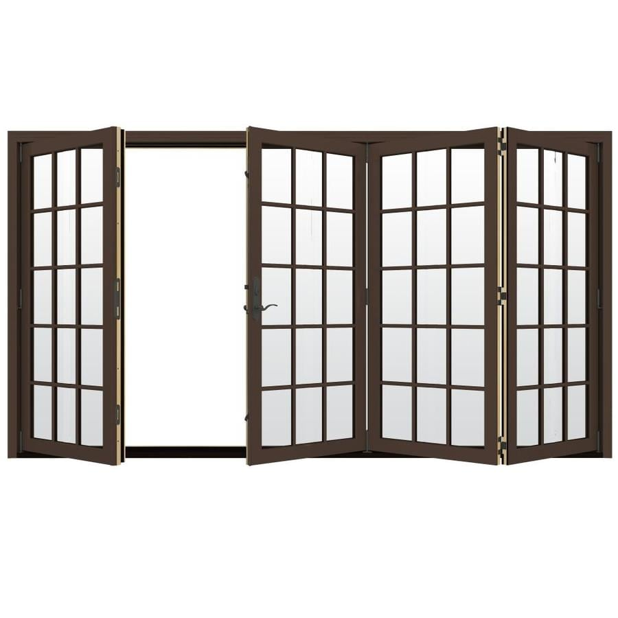 JELD-WEN W-4500 124.1875-in 15-Lite Glass Dark Chocolate Wood Folding Outswing Patio Door