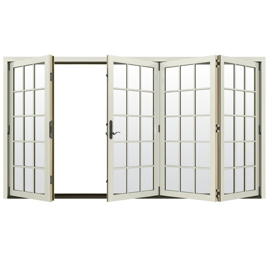 JELD-WEN W-4500 124.1875-in 15-Lite Glass French Vanilla Wood Folding Outswing Patio Door