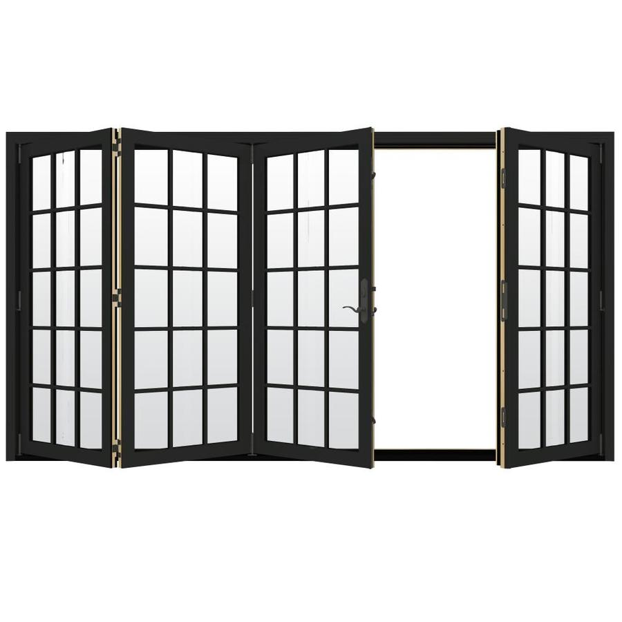 JELD-WEN W-4500 124.1875-in 15-Lite Glass Chestnut Bronze Wood Folding Outswing Patio Door