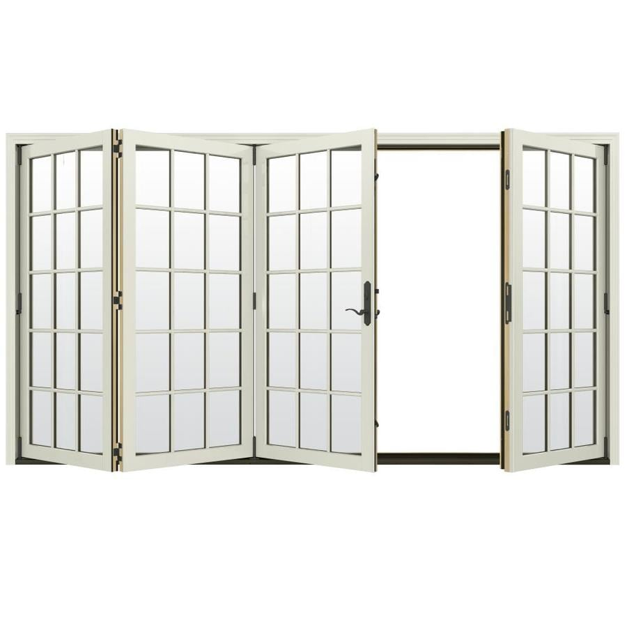 Shop jeld wen w 4500 15 lite glass french for Folding french doors