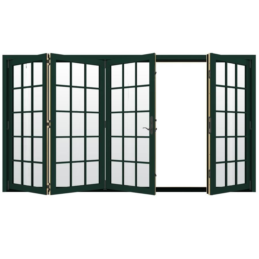 JELD-WEN W-4500 124.1875-in 15-Lite Glass Hartford Green Wood Folding Outswing Patio Door