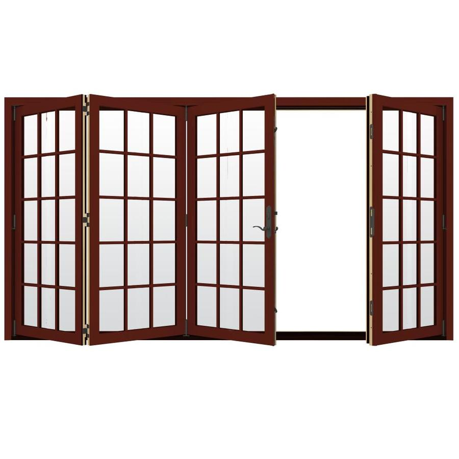 JELD-WEN W-4500 124.1875-in 15-Lite Glass Mesa Red Wood Folding Outswing Patio Door