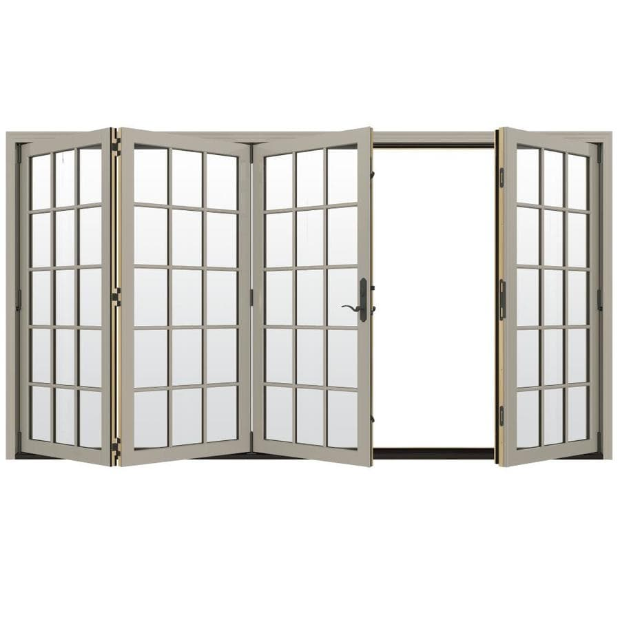 JELD-WEN W-4500 124.1875-in 15-Lite Glass Desert Sand Wood Folding Outswing Patio Door