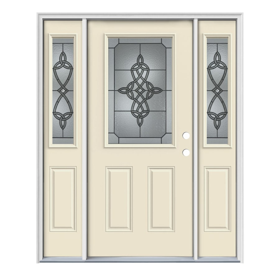 JELD-WEN Dylan 2-Panel Insulating Core Half Lite Left-Hand Inswing Bisque Steel Painted Prehung Entry Door (Common: 64-in x 80-in; Actual: 64.5-in x 81.75-in)