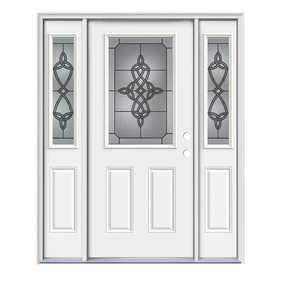 JELD-WEN Dylan Decorative Glass Left-Hand Inswing Modern White Steel Painted Entry Door (Common: 64-in x 80-in; Actual: 64.5-in x 81.75-in)
