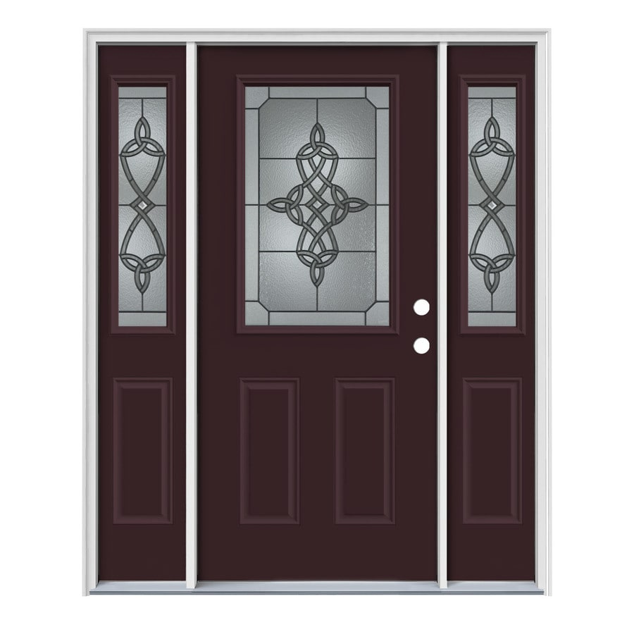 JELD-WEN Dylan Decorative Glass Left-Hand Inswing Currant Painted Steel Entry Door with Insulating Core (Common: 64-in x 80-in; Actual: 64.5-in x 81.75-in)