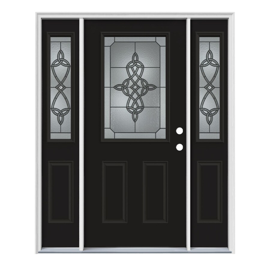JELD-WEN Dylan Decorative Glass Left-Hand Inswing Peppercorn Steel Painted Entry Door (Common: 64-in x 80-in; Actual: 64.5-in x 81.75-in)