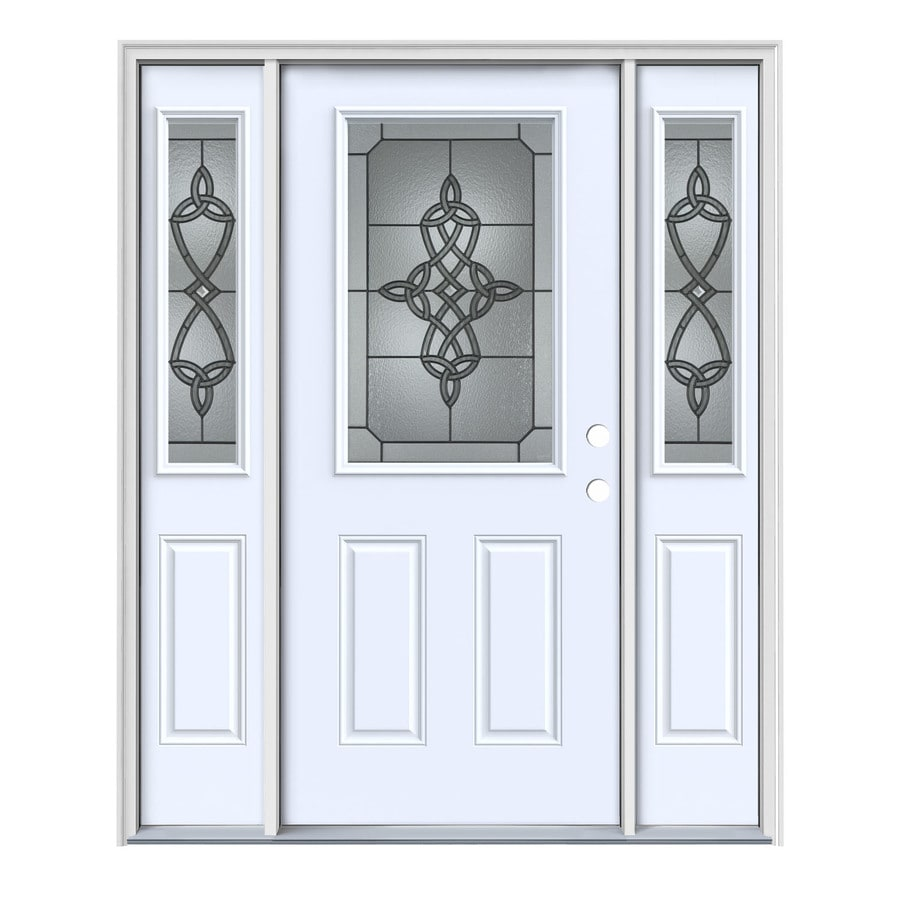 JELD-WEN Dylan Decorative Glass Left-Hand Inswing Primed Painted Steel Entry Door with Insulating Core (Common: 64-in x 80-in; Actual: 64.5-in x 81.75-in)