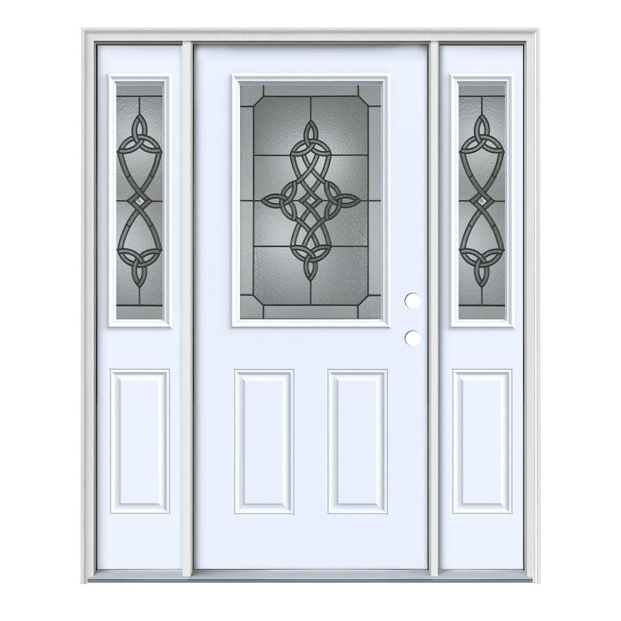 JELD-WEN Dylan 2-panel Insulating Core Half Lite Left-Hand Inswing Primed Steel Painted Prehung Entry Door (Common: 64-in x 80-in; Actual: 64.5-in x 81.75-in)