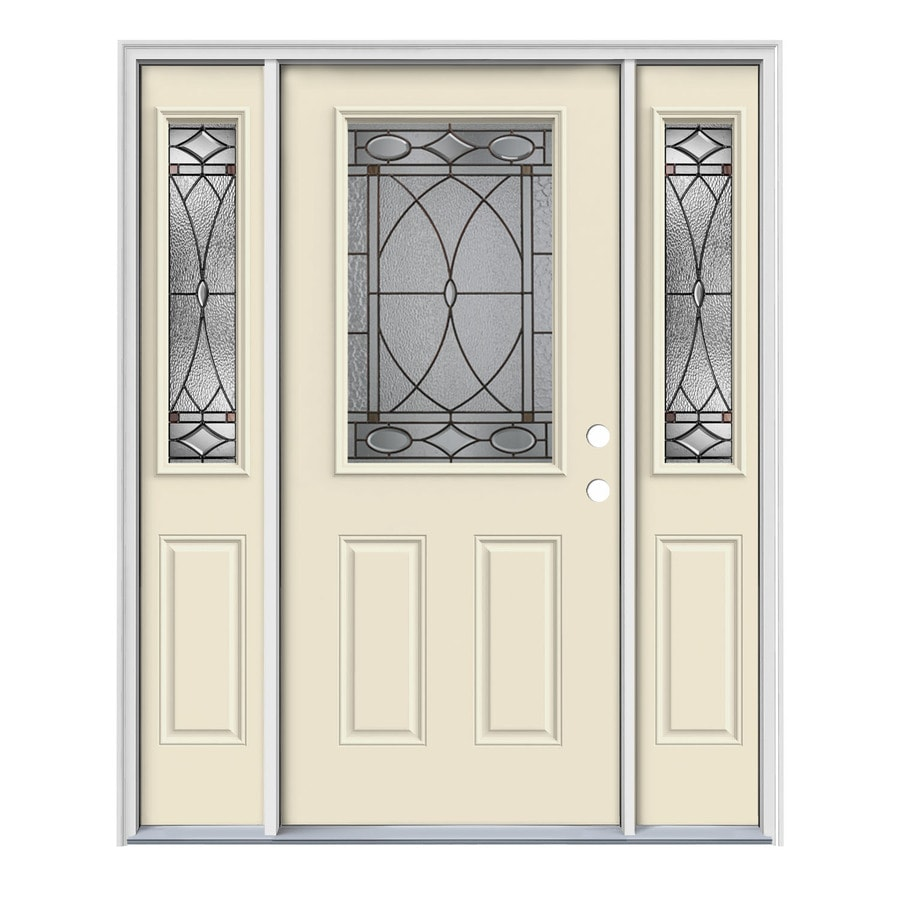 JELD-WEN Hutton Decorative Glass Left-Hand Inswing Bisque Painted Steel Entry Door with Insulating Core (Common: 64-in x 80-in; Actual: 64.5-in x 81.75-in)