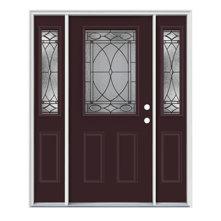 JELD-WEN Hutton Decorative Glass Left-Hand Inswing Currant Painted Steel Entry Door with Insulating Core (Common: 64-in x 80-in; Actual: 64.5-in x 81.75-in)