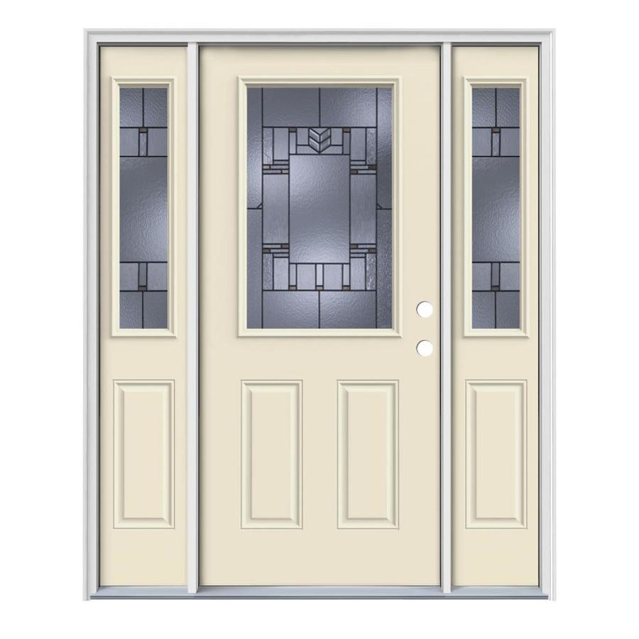 JELD-WEN Leighton Decorative Glass Left-Hand Inswing Bisque Painted Steel Entry Door with Insulating Core (Common: 64-in x 80-in; Actual: 64.5-in x 81.75-in)