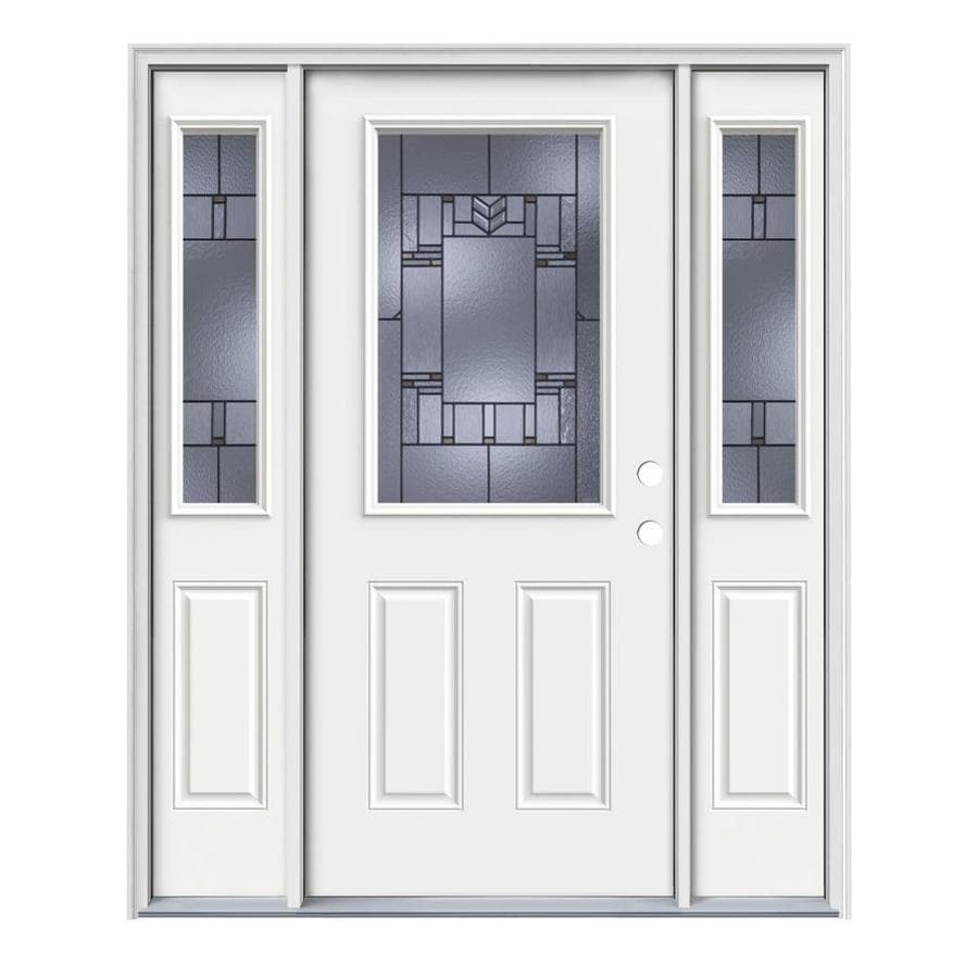 JELD-WEN Leighton Decorative Glass Left-Hand Inswing Modern White Painted Steel Entry Door with Insulating Core (Common: 64-in x 80-in; Actual: 64.5-in x 81.75-in)