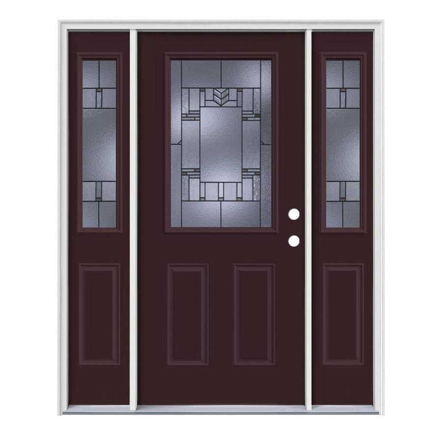JELD-WEN Leighton Decorative Glass Left-Hand Inswing Currant Painted Steel Entry Door with Insulating Core (Common: 64-in x 80-in; Actual: 64.5-in x 81.75-in)