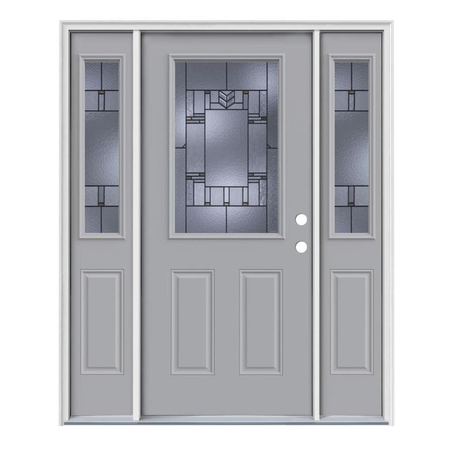 JELD-WEN Leighton Decorative Glass Left-Hand Inswing Infinity Grey Painted Steel Entry Door with Insulating Core (Common: 64-in x 80-in; Actual: 64.5-in x 81.75-in)