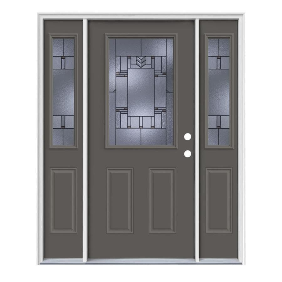 JELD-WEN Leighton Decorative Glass Left-Hand Inswing Timber Gray Steel Painted Entry Door (Common: 64-in x 80-in; Actual: 64.5-in x 81.75-in)