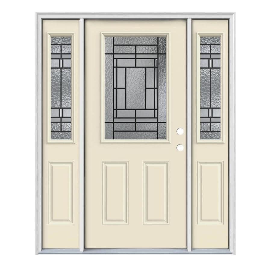 JELD-WEN Pembrook Decorative Glass Left-Hand Inswing Bisque Painted Steel Entry Door with Insulating Core (Common: 64-in x 80-in; Actual: 64.5-in x 81.75-in)