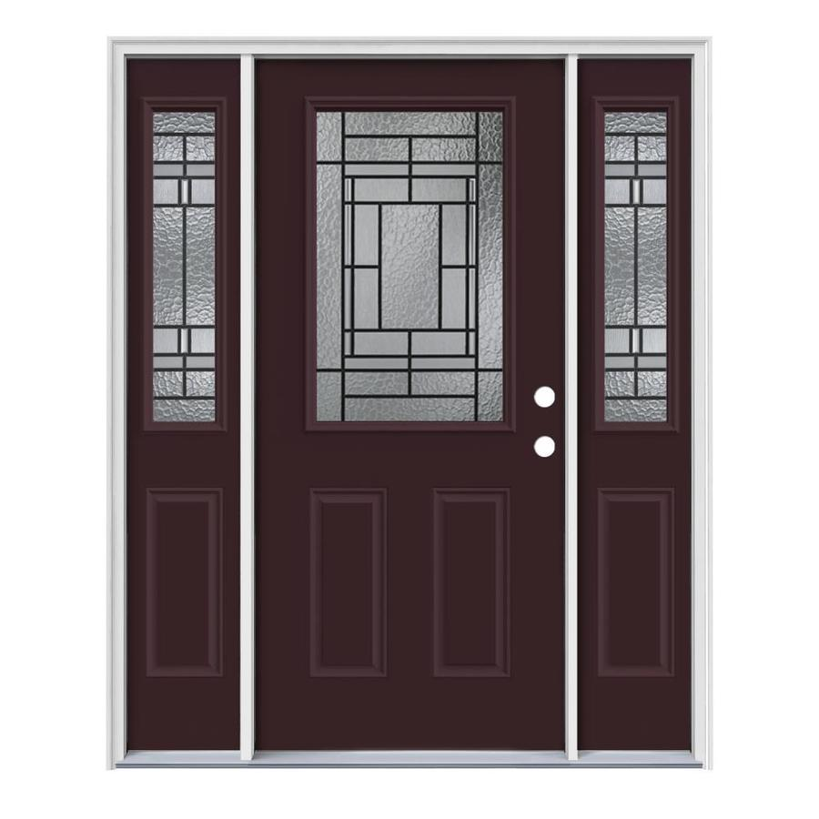 JELD-WEN Pembrook Decorative Glass Left-Hand Inswing Currant Painted Steel Entry Door with Insulating Core (Common: 64-in x 80-in; Actual: 64.5-in x 81.75-in)