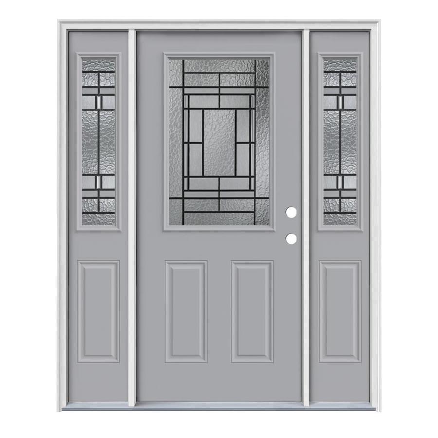 JELD-WEN Pembrook Decorative Glass Left-Hand Inswing Infinity Grey Steel Painted Entry Door (Common: 64-in x 80-in; Actual: 64.5-in x 81.75-in)