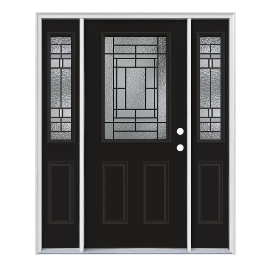 JELD-WEN Pembrook Decorative Glass Left-Hand Inswing Peppercorn Steel Painted Entry Door (Common: 64-in x 80-in; Actual: 64.5-in x 81.75-in)