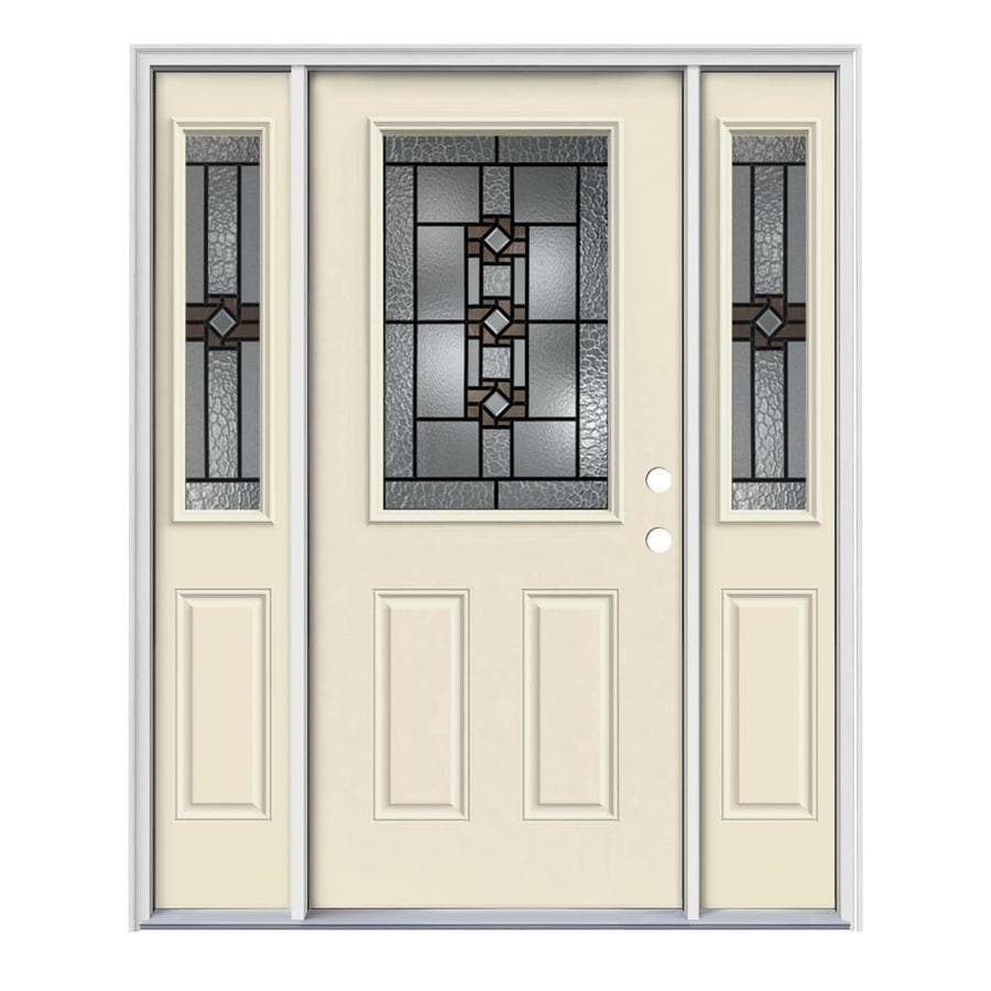JELD-WEN Sonora Decorative Glass Left-Hand Inswing Bisque Painted Steel Entry Door with Insulating Core (Common: 64-in x 80-in; Actual: 64.5-in x 81.75-in)