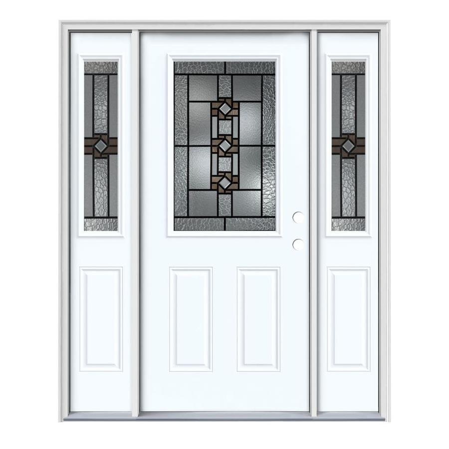 JELD-WEN Sonora Decorative Glass Left-Hand Inswing Modern White Steel Painted Entry Door (Common: 64-in x 80-in; Actual: 64.5-in x 81.75-in)