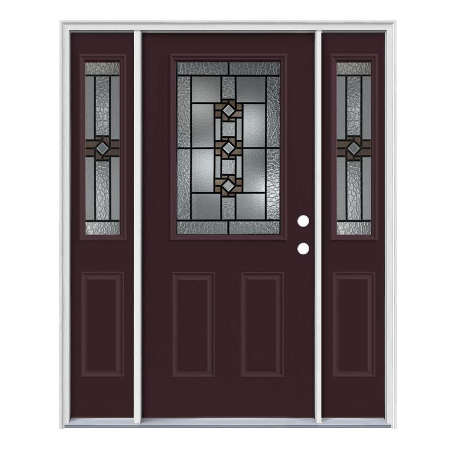 JELD-WEN Sonora Decorative Glass Left-Hand Inswing Currant Painted Steel Entry Door with Insulating Core (Common: 64-in x 80-in; Actual: 64.5-in x 81.75-in)