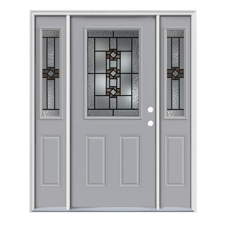 JELD-WEN Sonora Decorative Glass Left-Hand Inswing Infinity Grey Painted Steel Entry Door with Insulating Core (Common: 64-in x 80-in; Actual: 64.5-in x 81.75-in)