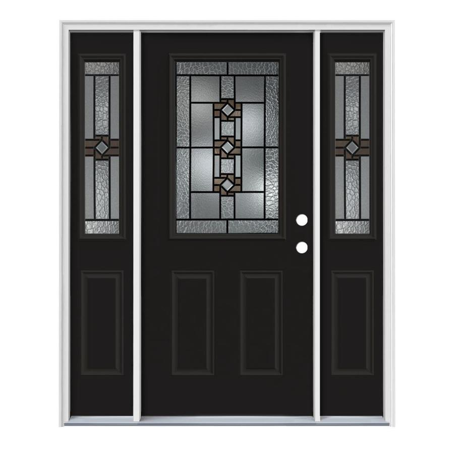 JELD-WEN Sonora Decorative Glass Left-Hand Inswing Peppercorn Painted Steel Entry Door with Insulating Core (Common: 64-in x 80-in; Actual: 64.5-in x 81.75-in)