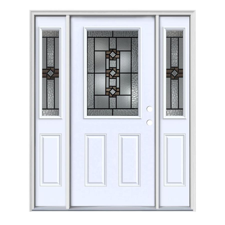 JELD-WEN Sonora Decorative Glass Left-Hand Inswing Primed Painted Steel Entry Door with Insulating Core (Common: 64-in x 80-in; Actual: 64.5-in x 81.75-in)