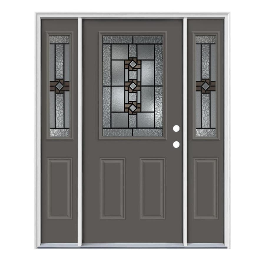 JELD-WEN Sonora Decorative Glass Left-Hand Inswing Timber Gray Painted Steel Entry Door with Insulating Core (Common: 64-in x 80-in; Actual: 64.5-in x 81.75-in)