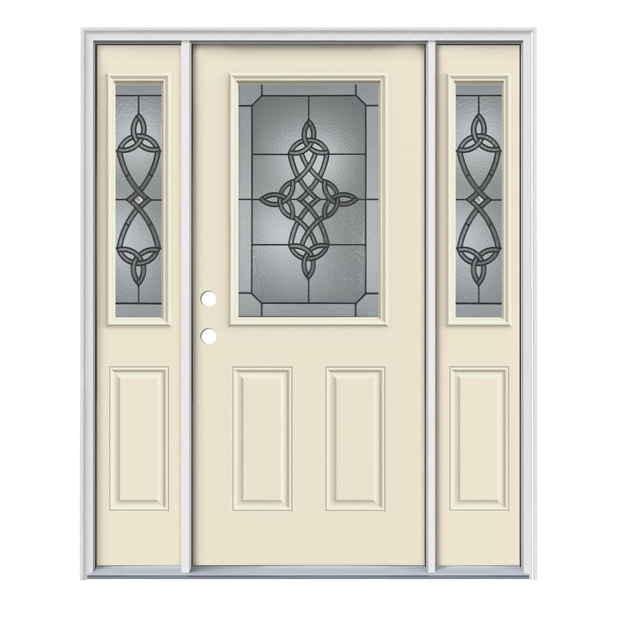 JELD-WEN Dylan Decorative Glass Right-Hand Inswing Bisque Painted Steel Entry Door with Insulating Core (Common: 64-in x 80-in; Actual: 64.5-in x 81.75-in)