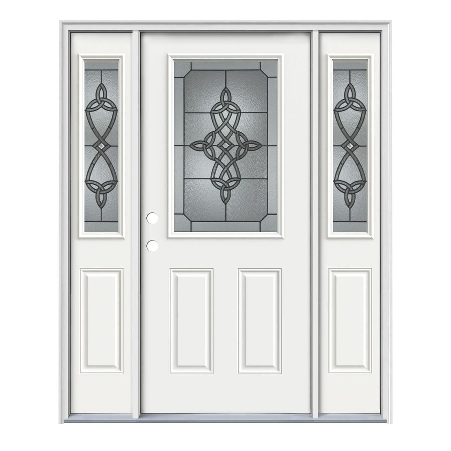 JELD-WEN Dylan Decorative Glass Right-Hand Inswing Modern White Painted Steel Entry Door with Insulating Core (Common: 64-in x 80-in; Actual: 64.5-in x 81.75-in)