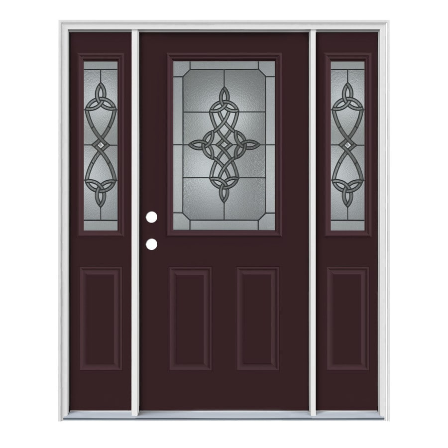 JELD-WEN Dylan Decorative Glass Right-Hand Inswing Currant Painted Steel Entry Door with Insulating Core (Common: 64-in x 80-in; Actual: 64.5-in x 81.75-in)