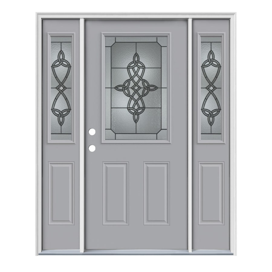JELD-WEN Dylan Decorative Glass Right-Hand Inswing Infinity Grey Painted Steel Entry Door with Insulating Core (Common: 64-in x 80-in; Actual: 64.5-in x 81.75-in)