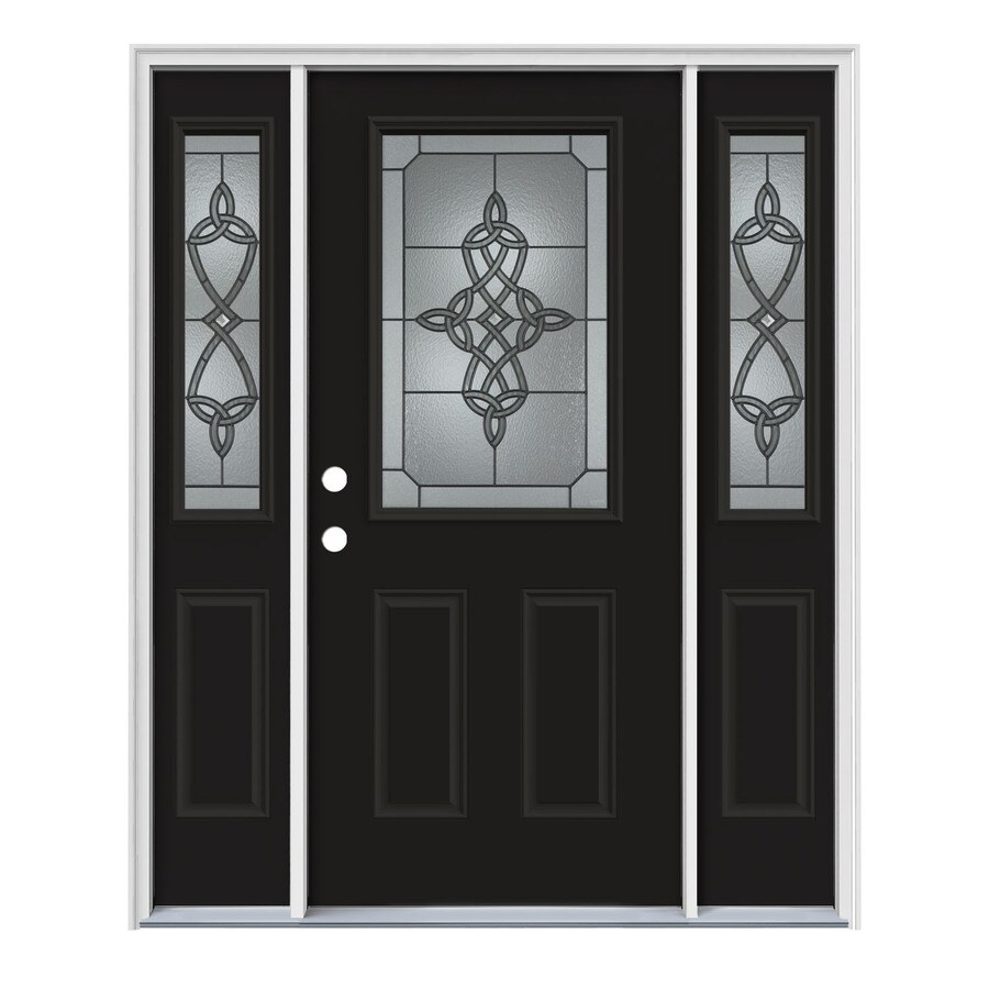 JELD-WEN Dylan Decorative Glass Right-Hand Inswing Peppercorn Painted Steel Entry Door with Insulating Core (Common: 64-in x 80-in; Actual: 64.5-in x 81.75-in)