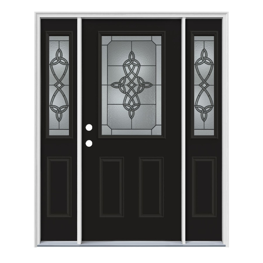 JELD-WEN Dylan Decorative Glass Right-Hand Inswing Peppercorn Steel Painted Entry Door (Common: 64-in x 80-in; Actual: 64.5-in x 81.75-in)