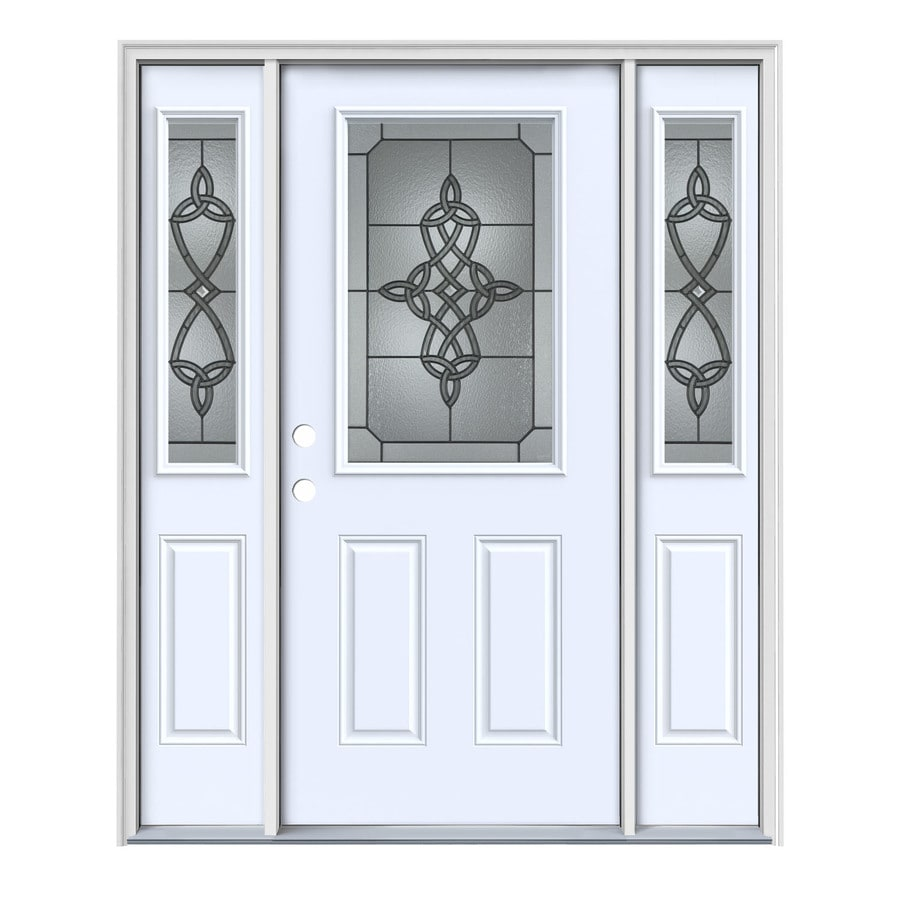 JELD-WEN Dylan 2-Panel Insulating Core Half Lite Right-Hand Inswing Primed White Steel Painted Prehung Entry Door (Common: 64-in x 80-in; Actual: 64.5-in x 81.75-in)