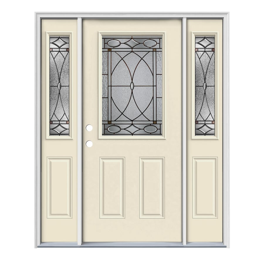 JELD-WEN Hutton Decorative Glass Right-Hand Inswing Bisque Painted Steel Entry Door with Insulating Core (Common: 64-in x 80-in; Actual: 64.5-in x 81.75-in)
