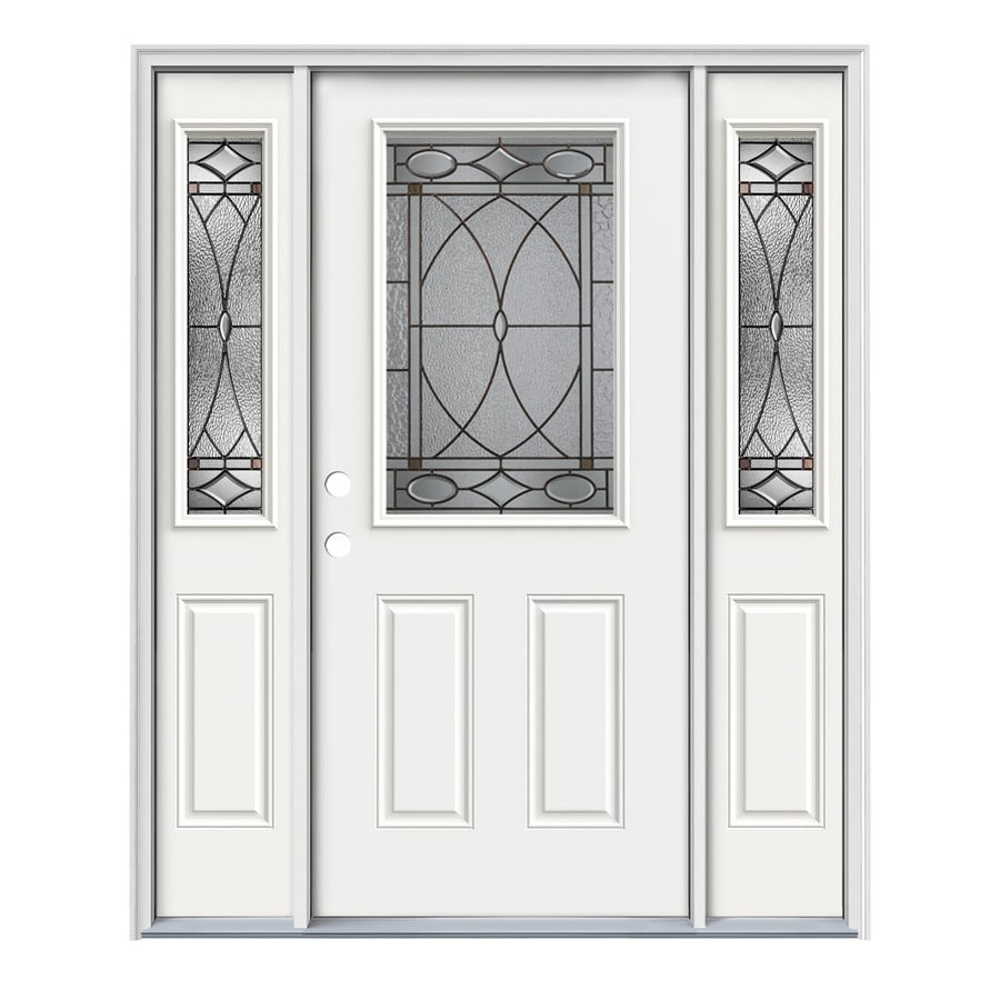 JELD-WEN Hutton 2-Panel Insulating Core Half Lite Right-Hand Inswing Modern White Steel Painted Prehung Entry Door (Common: 64-in x 80-in; Actual: 64.5-in x 81.75-in)